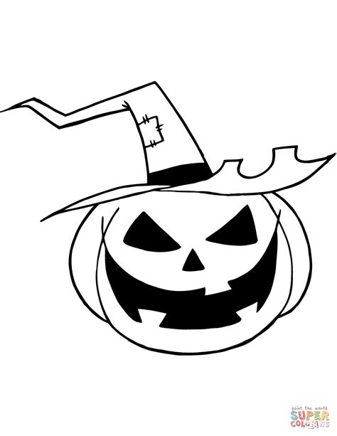 scary jack  lantern   witch hat coloring page