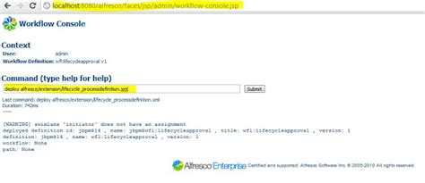 alfresco workflow console alfresco