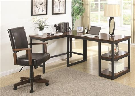 2 piece l shaped desk marple 2 piece l shaped desk in two tone brown and black