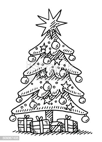 christmas tree star gift boxes drawing stock vector art  images  black  white