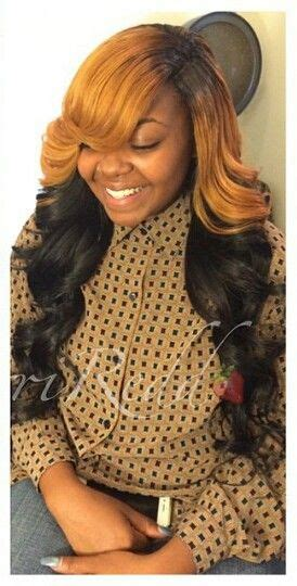 two tone dyed side part sew in hairstyles