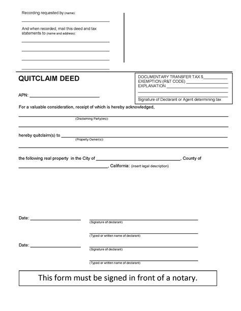 quit claim form california free california quit claim deed form deed forms deed forms