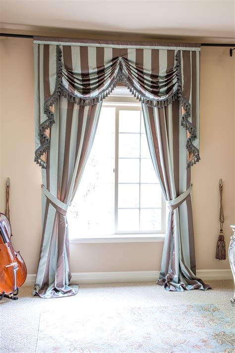 Blue Swag Curtains by Austrian Swag Valances Curtain Drapes Stripe Blue Brown