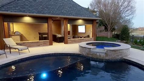 Sealed Concrete Floor by Pool Cabana Design With Outdoor Kitchen Designing Idea