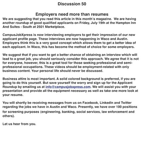 What Do Employers Want In A Resume by Discussion 50 Alamo Employers Need More Than Resumes