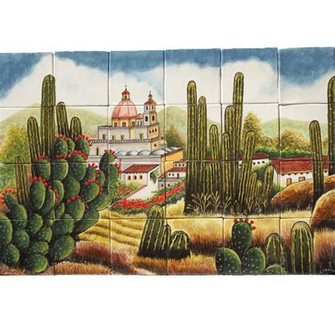 mexican style mural cactus mexican tile designs