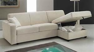 Canapé Lit Angle : canap lit angle r versible couchage 140 cm tissu blanc cass prix bas ~ Teatrodelosmanantiales.com Idées de Décoration