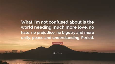 Stevie Wonder Quote: What I m not confused about is the