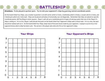 Coordinate Grid Battleship By Parrott's Place  Teachers Pay Teachers