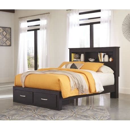 King Bookcase Storage Bed by Reylow Brown King Bookcase Storage Bed