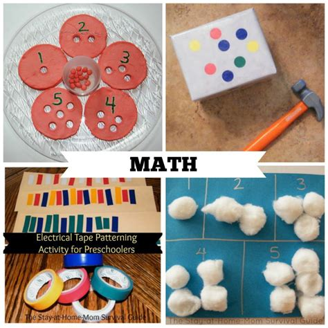 40 activities for preschool at home the stay at home 926 | MATH%2BCOLLAGE