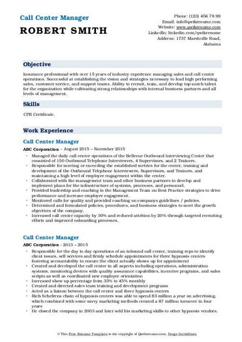 Resume Build Relationships by Call Center Manager Resume Sles Qwikresume