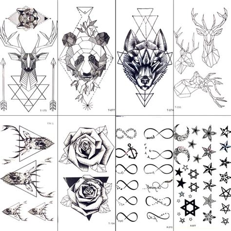 tatouage géométrique homme g 233 om 233 trique moose elk fl 232 che temporaire tatouage panda femmes tatoo autocollant triangle
