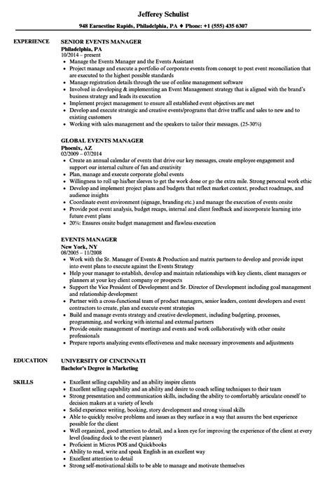 Event Manager Resume by Events Manager Resume Sles Velvet
