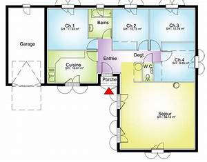 maison contemporaine plans maisons With plan maison plain pied 4 chambres double garage