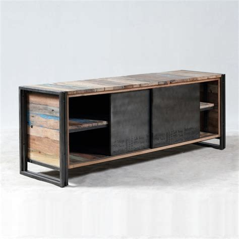 console de chambre meuble tv industrielle 2 portes coulissantes métal brossé