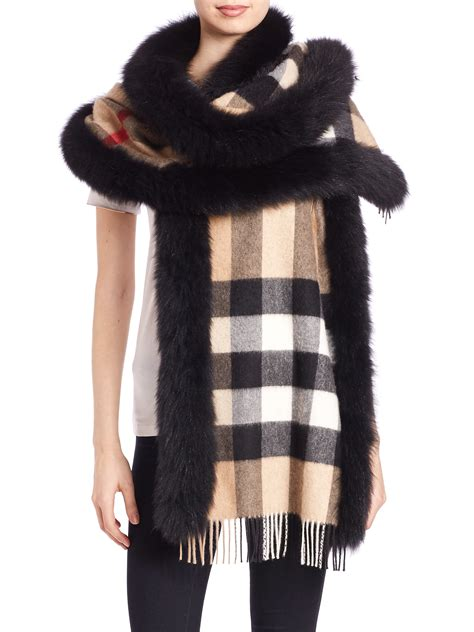 lyst burberry fox fur trimmed house check cashmere scarf
