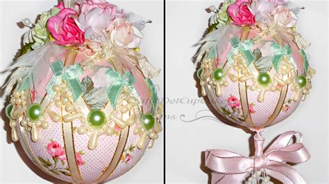 shabby chic ornaments tutorial shabby chic christmas ornament bauble youtube