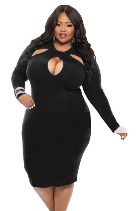 Women Plus Size Sexy Midi Dress Clubwear Party Cocktail Bodycon Black