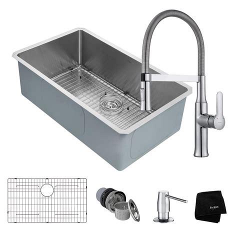 all in one kitchen sink kraus handmade all in one undermount stainless steel 32 in 7422