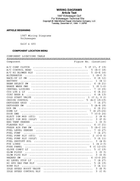 vw golf gl gti 1990 wiring diagrams service manual download schematics eeprom repair info for