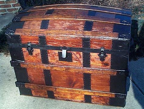 restored antique steamer trunks  sale victorian era  wood leather  pressed tin