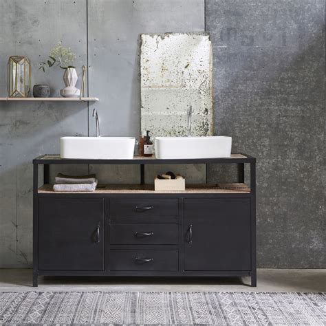 Tikamoon  Industriel Metal And Mango Vanity Cabinet 140. Stone Top Coffee Table. Efficiency Kitchen. Granite Floor Tiles. Colored Concrete Floors. Round Marble Coffee Table. Nailhead Sectional. Ceiling To Floor Curtains. Cement Tile