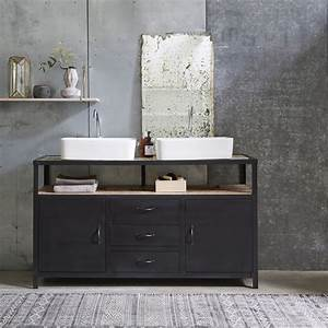 Salle De Bain Meuble : meuble sous vasque en mtal noir et manguier pour salle de ~ Dailycaller-alerts.com Idées de Décoration