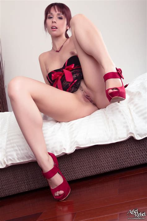 Ariel Rebel Slips Off Her Thong In Her Black And Red