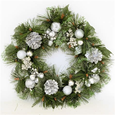 decorated christmas wreath 16 quot decorated christmas wreath for door hanging gold silver or red ebay