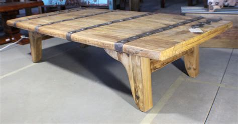 "67"" Large Door Coffee Table Reclaimed Old Elm Solid Wood"