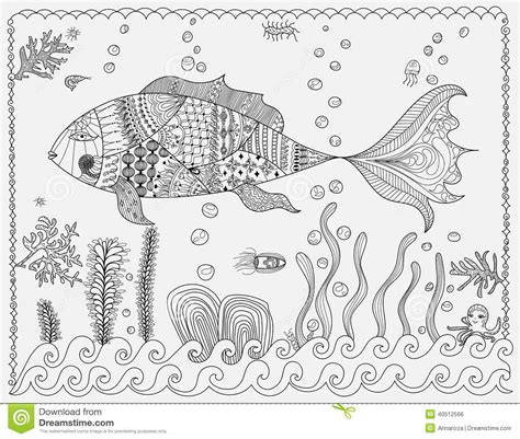 colouring abstract fish stock vector image