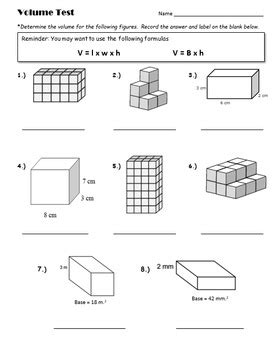 5th grade volume unit test summative assessment by