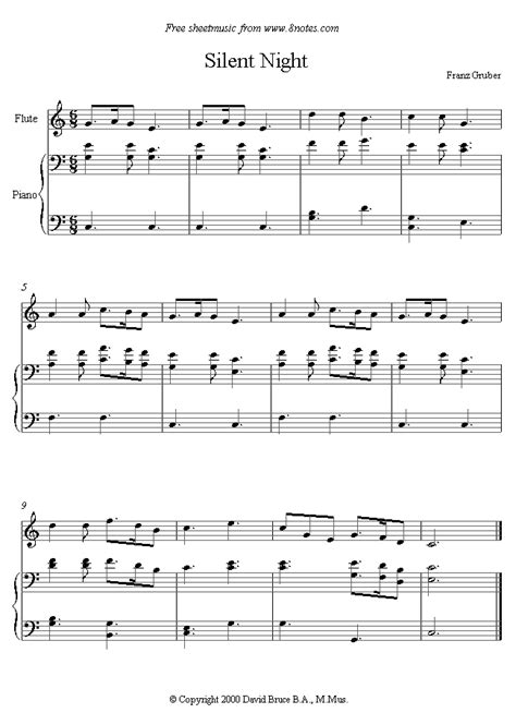 Overview of this digital piano sheet music: Silent Night sheet music for Flute - 8notes.com
