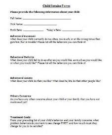 Child Counseling Intake Form Templates