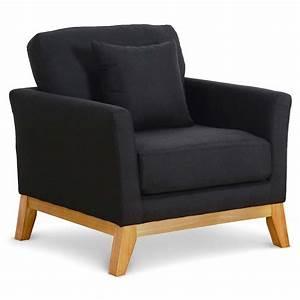 Canapé Et Fauteuil Scandinave : fauteuil scandinave tissu noir kynok ~ Teatrodelosmanantiales.com Idées de Décoration