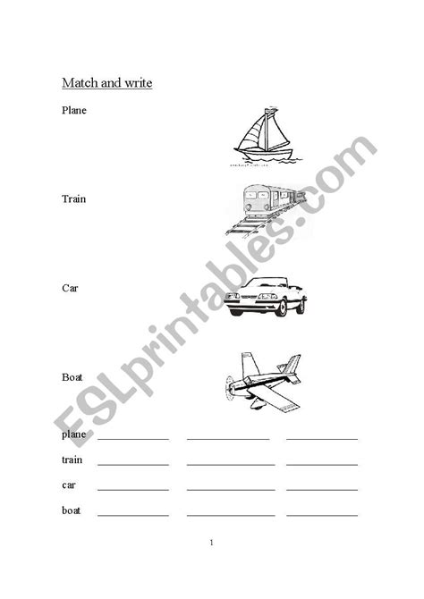 Match and Write - Plane, Train, Boat, Car - ESL worksheet