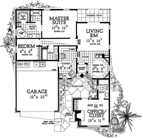 house plan  entry courtyard  st floor master suite courtyard den office library