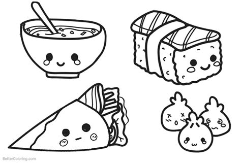cute kawaii food coloring pages pictures  pin  pinterest pinsdaddy