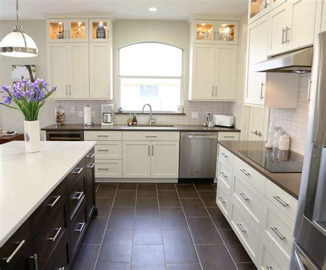 cedar park transitional white kitchen  espresso island