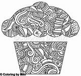 Zentangle Coloring Sweets Coloringbymiki Cupcake Dessert 保存 sketch template