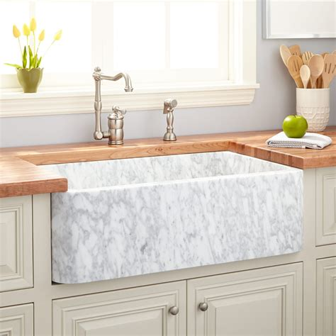 white sinks kitchen 33 quot polished marble farmhouse sink carrara kitchen 1060