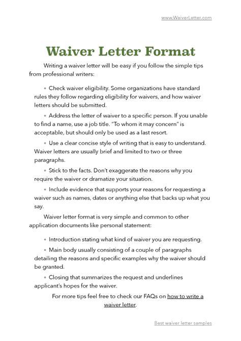 writing  waiver letter sample mamiihondenkorg