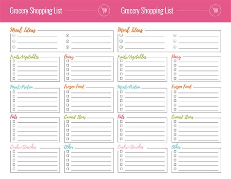 Free Grocery Shopping List Printables