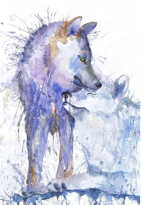 Animal Art Wolf Watercolor Painting Two Wolves