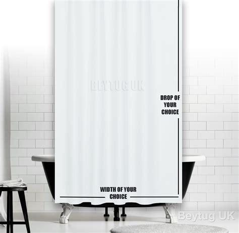 plain white fabric shower curtain weighted hem rings