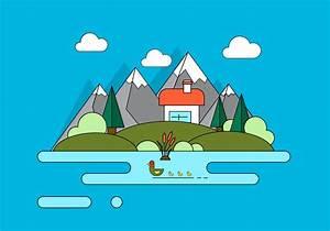 Mountain Home Vector Illustration