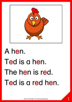 short  vowel reader worksheet flashcards ted  hen
