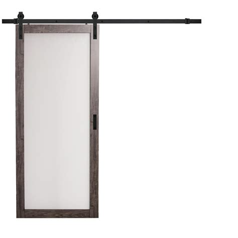 truporte 36 in x 84 in iron age gray mdf frosted glass 1