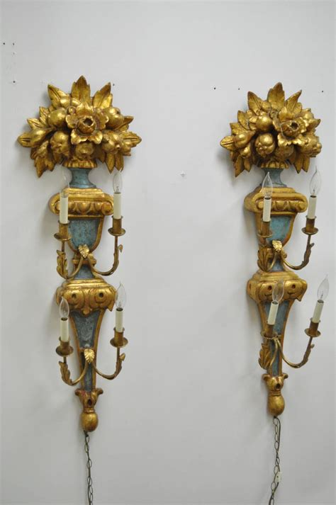 pair of 1950s carved giltwood italian style four light wall sconces by masa for sale at 1stdibs